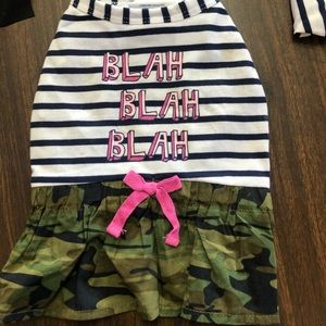 Top Paw BLAH BLAH  BLAH stripe camo dog dress